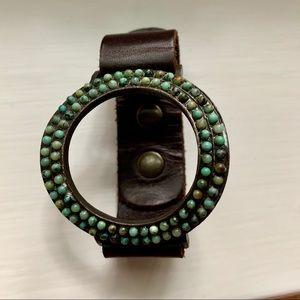 Rebel Designs Leather Turquoise Bracelet